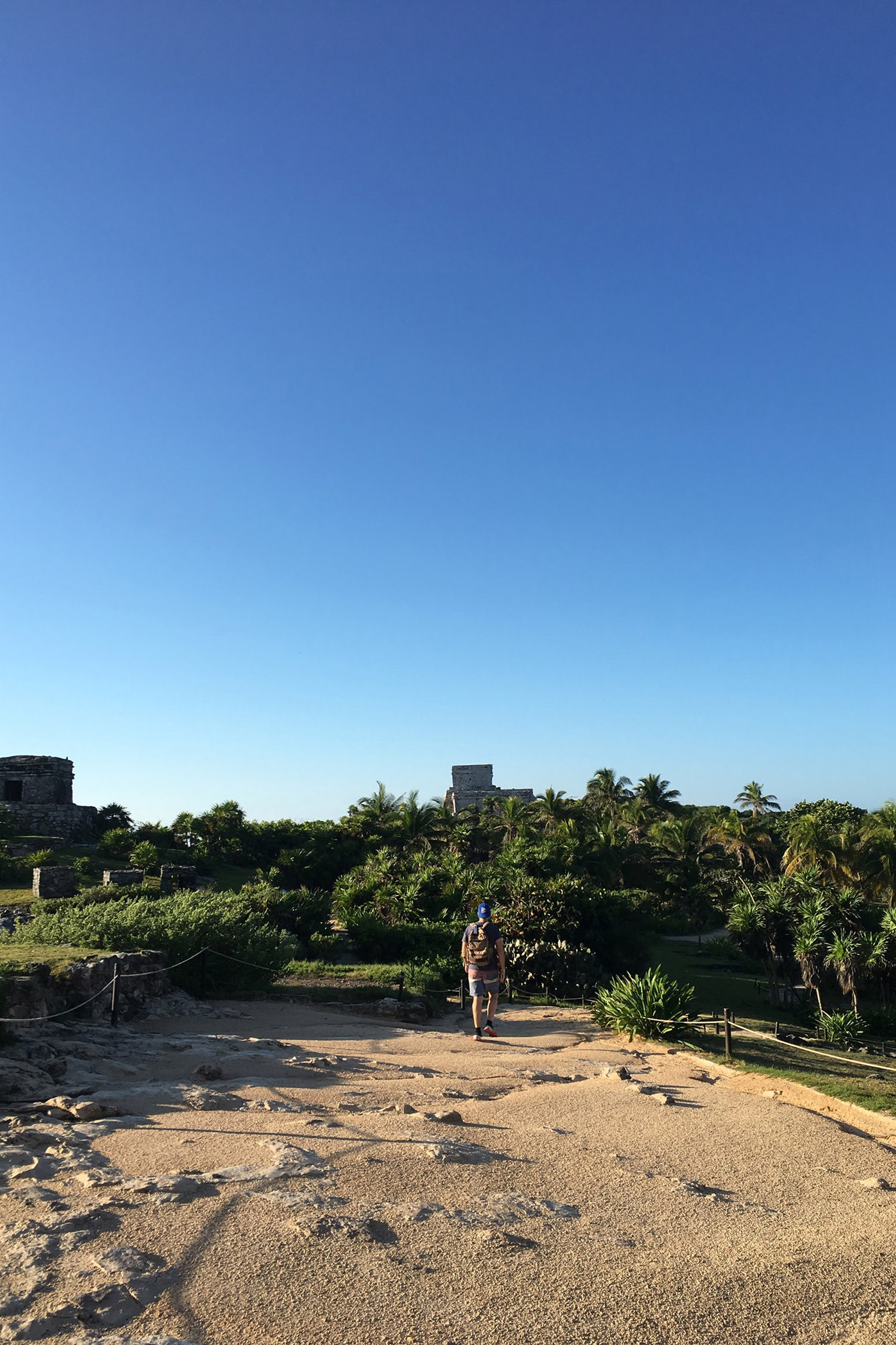 Dan walking Tulum Ruins early in the morning