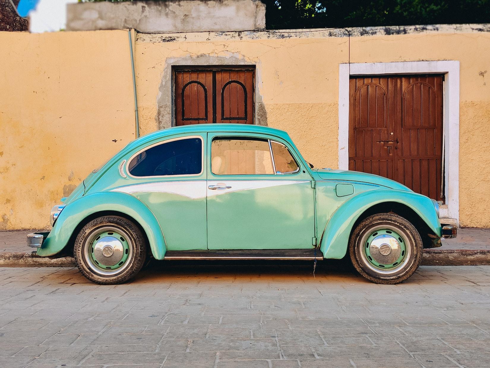 Teal vintage VW Beetle