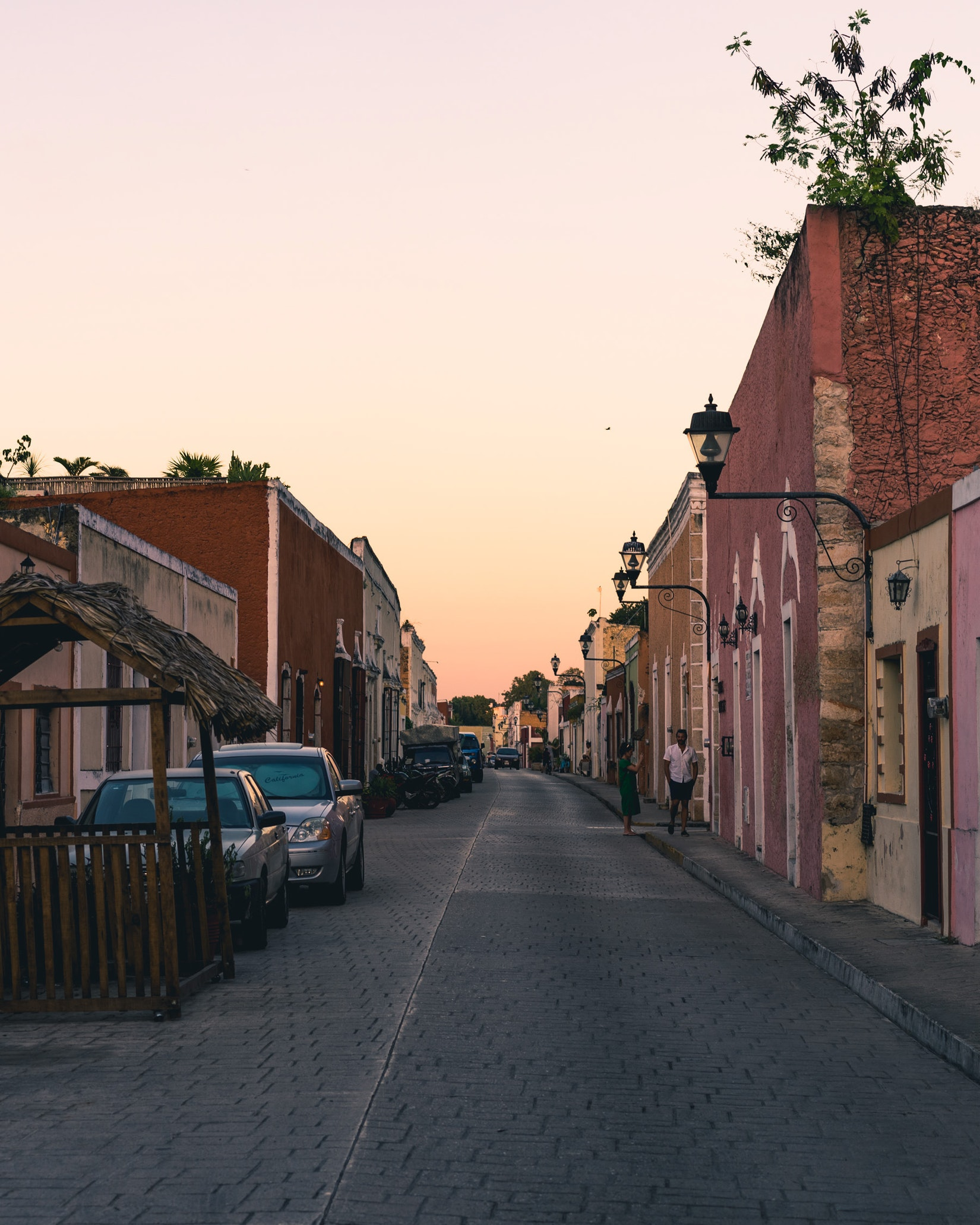 Calzada de los Frailes (famous diagonal street) at sunset in Valladolid