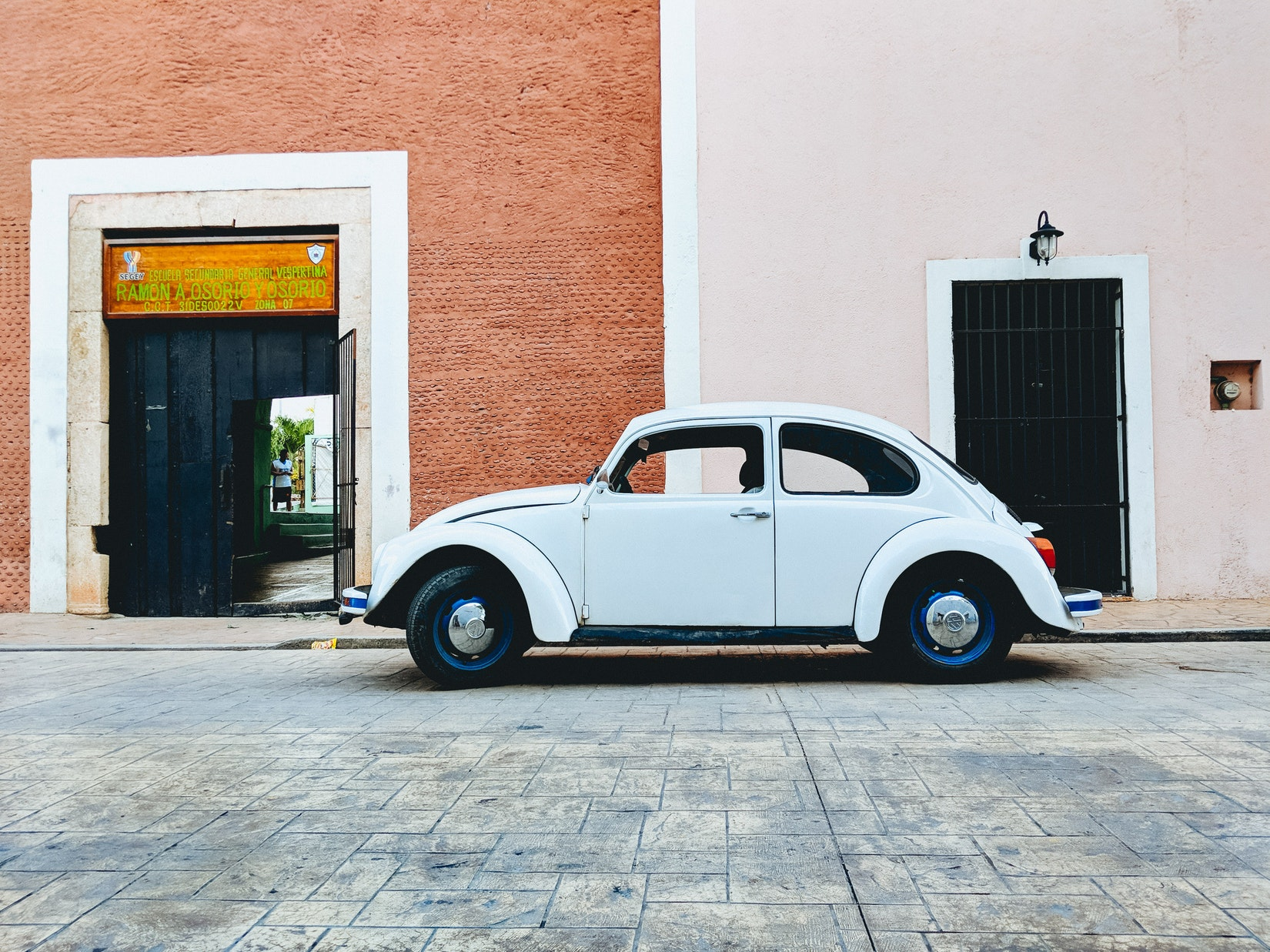 White vintage VW Beetle