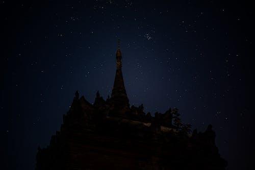 Gece pagoda tapınağı Bagan Myanmar Burma'da yıldız fotoğrafları nasıl çekilir