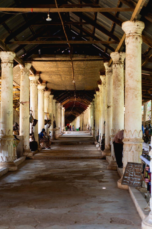 Long indoor outdoor market hall pathway of Indein village in Indein Myanmar