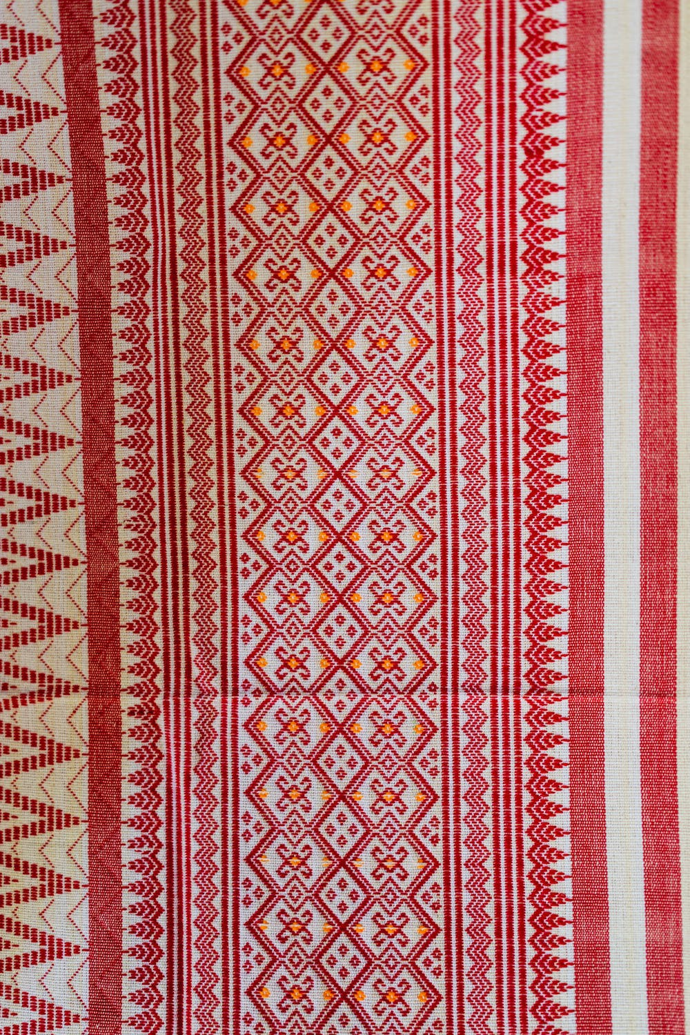 Pattern rug fabric for sale in the village market of Indein Myanmar