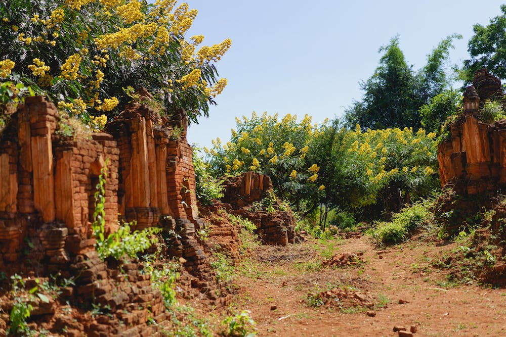Ancient archaeological architectural area of pagodas at Indein Myanmar