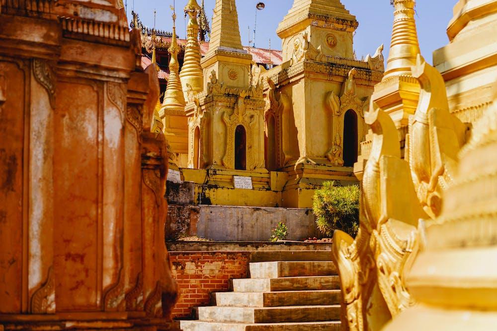 Rebuilt area of golden stupas outside Indein Pagoda in Indein Myanmar