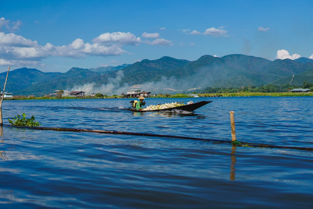 Burmese man driving a small motorized wooden boat along the waterways of Inle Lake Myanmar on a clear sunny day