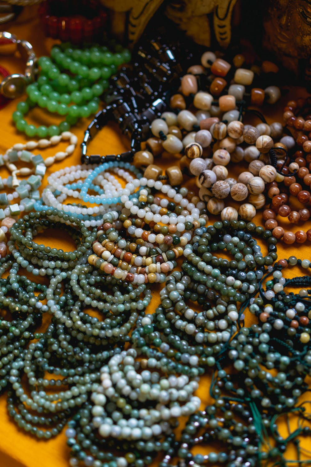 Beaded bracelets for sale at a village market in Indein Myanmar