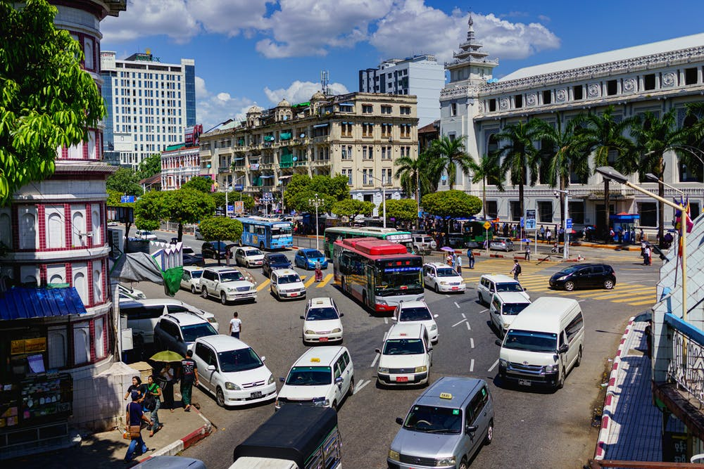 City traffic backup as seen from a viewpoint in Chinatown of Yangon Myanmar