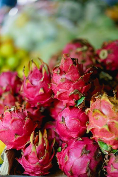 Inle Lake Myanmar'da satılık pembe dragonfruits