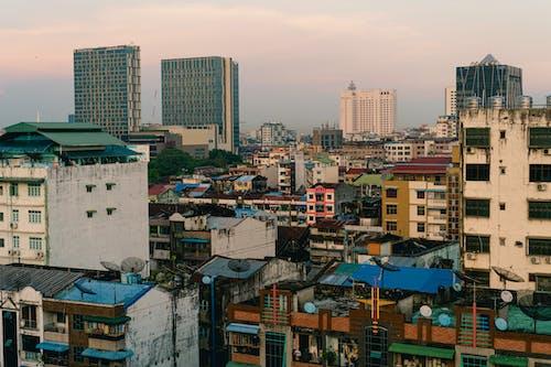 Yangon Myanmar Burma'daki en iyi çatı barından şehir manzarası