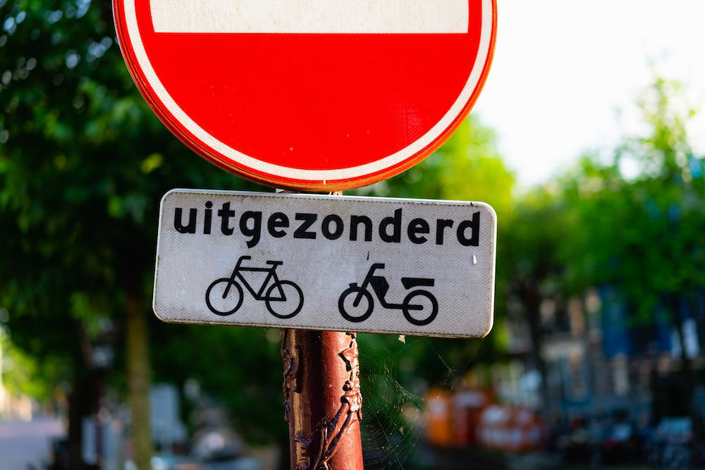 Bike sign in Dutch