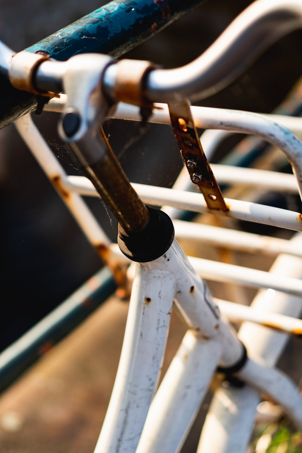 Close up of a rusty bike