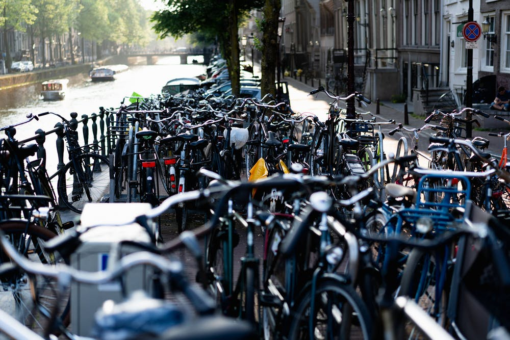 Many bikes in street storage in Amsterdam