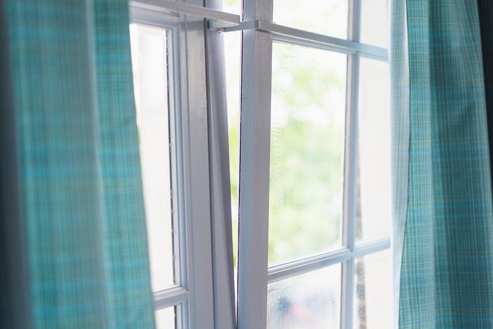 Bright window in a hotel room