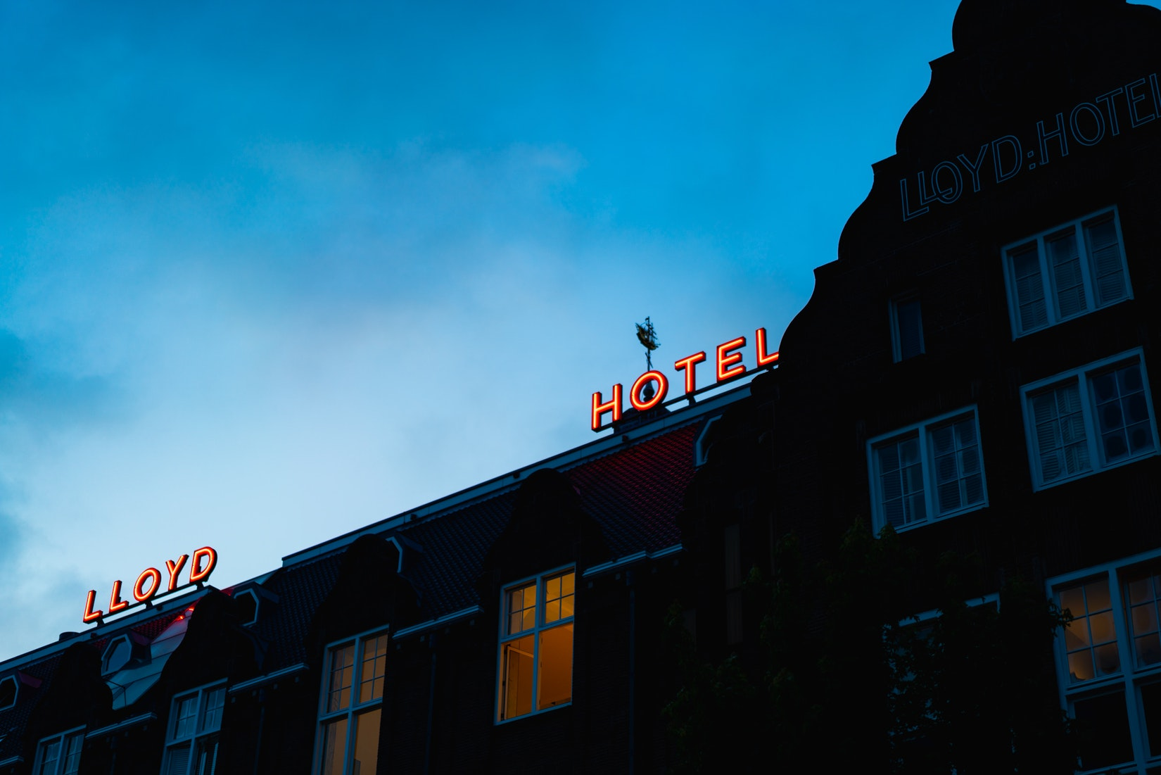 Neon lights of Lloyd Hotel at night