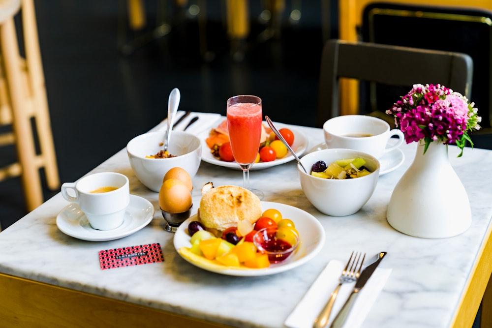 Breakfast spread at Lloyd Hotel