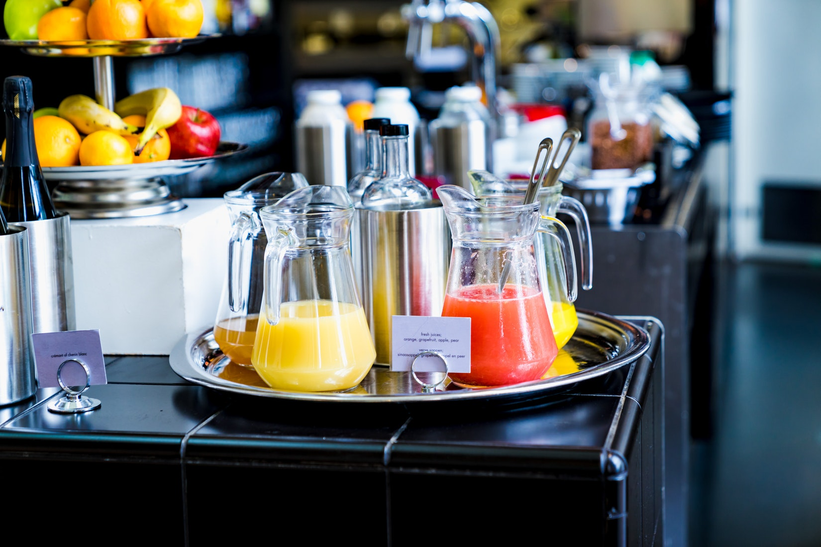 Fresh fruit juices at Lloyd Hotel, Amsterdam