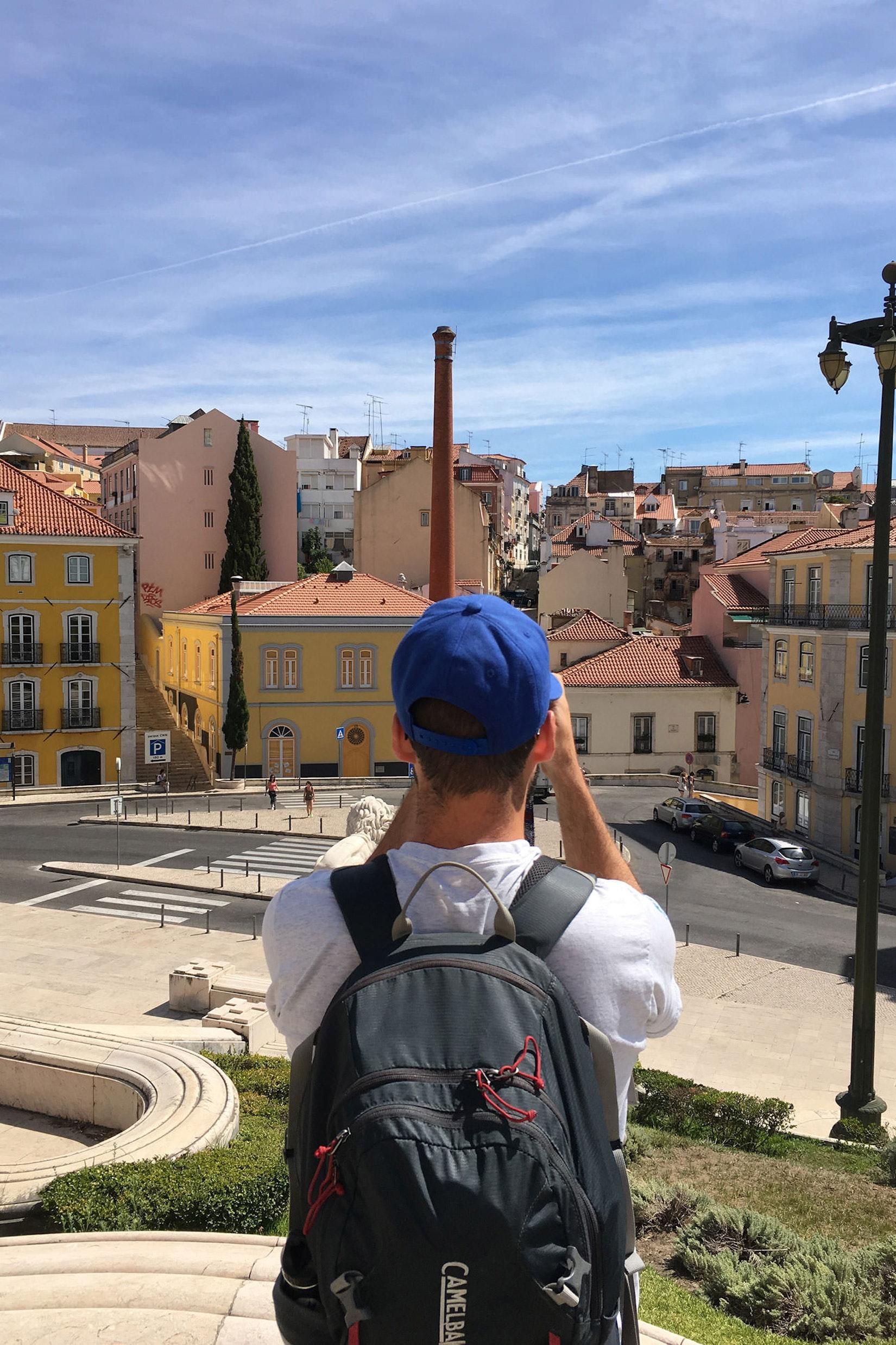 The back of Dan in Lisbon