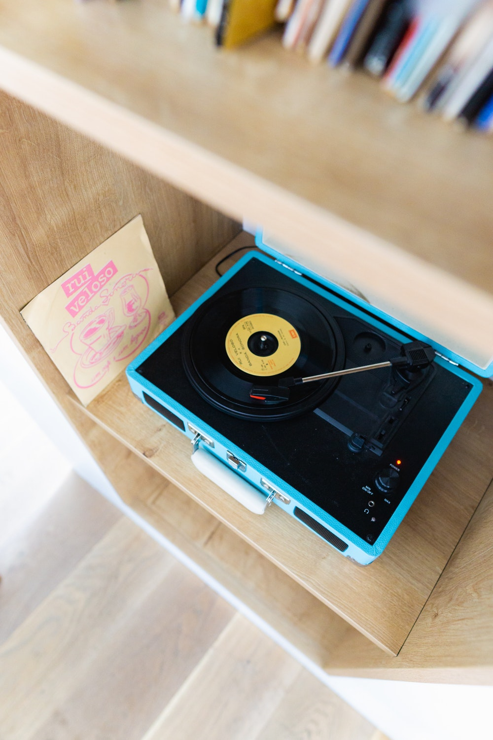 Vintage record player in the penthouse suite of The Lisboans in Lisbon, Portugal