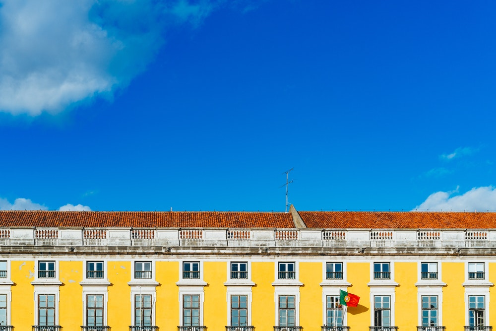 Yellow buildings and architecture in Lisbon, Portugal