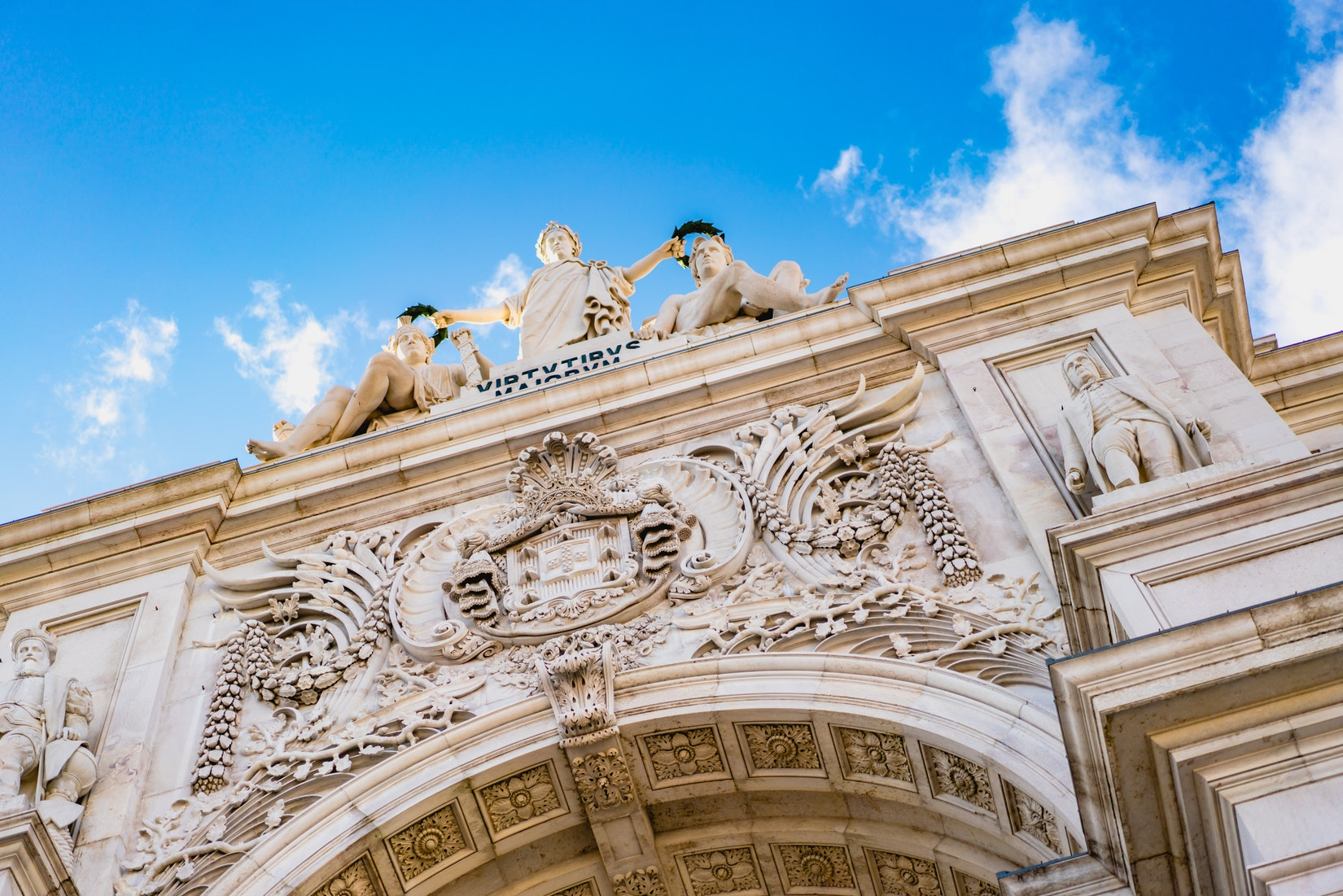 Details in the arch of Praca de Comercio in downtown Lisbon, Portugal