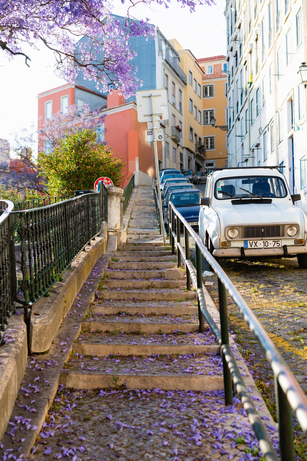 Stairs that go uphill to the Alfama district in Lisbon, Portugal
