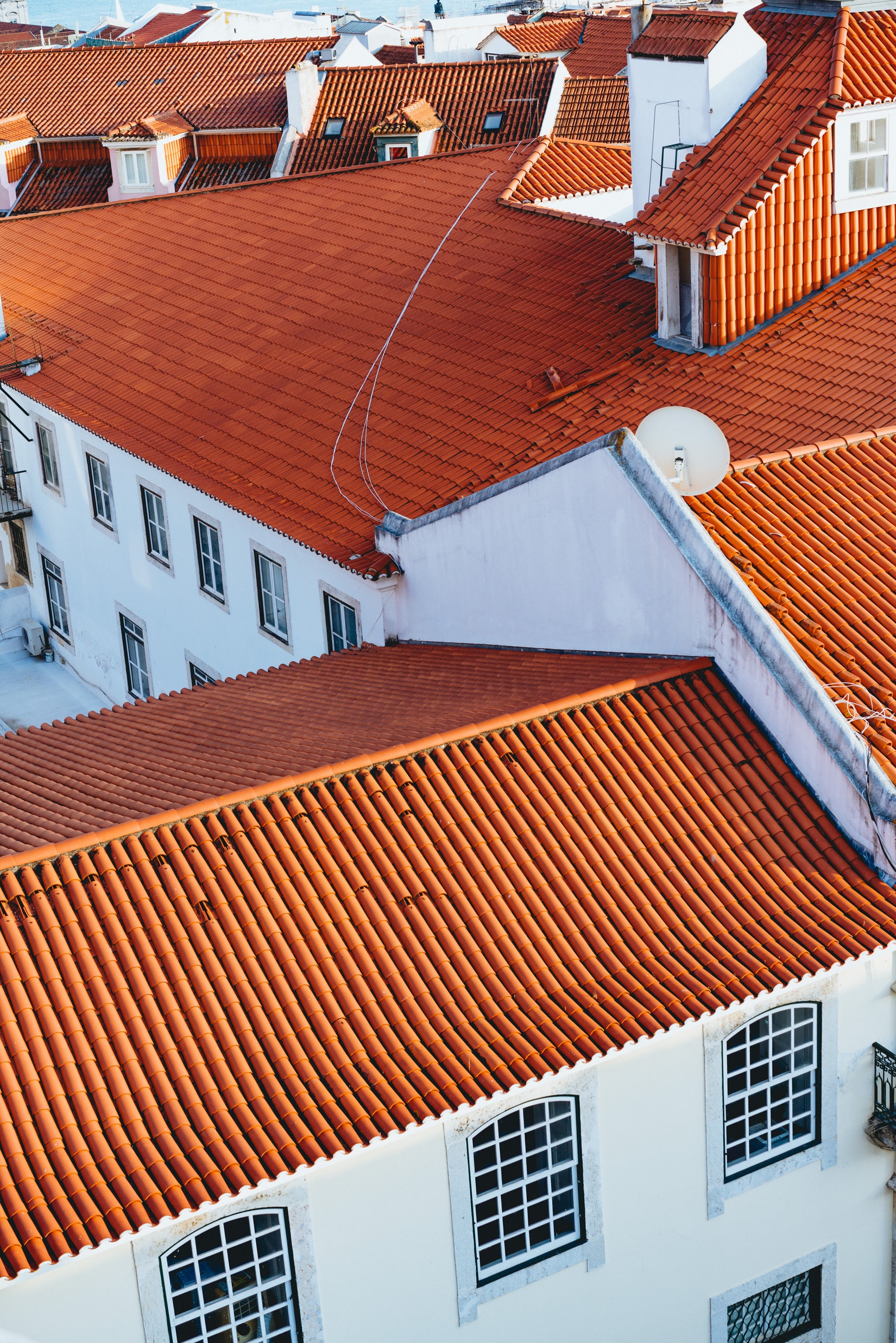 Red roofs in Lisbon, Portugal, in the Alfama District
