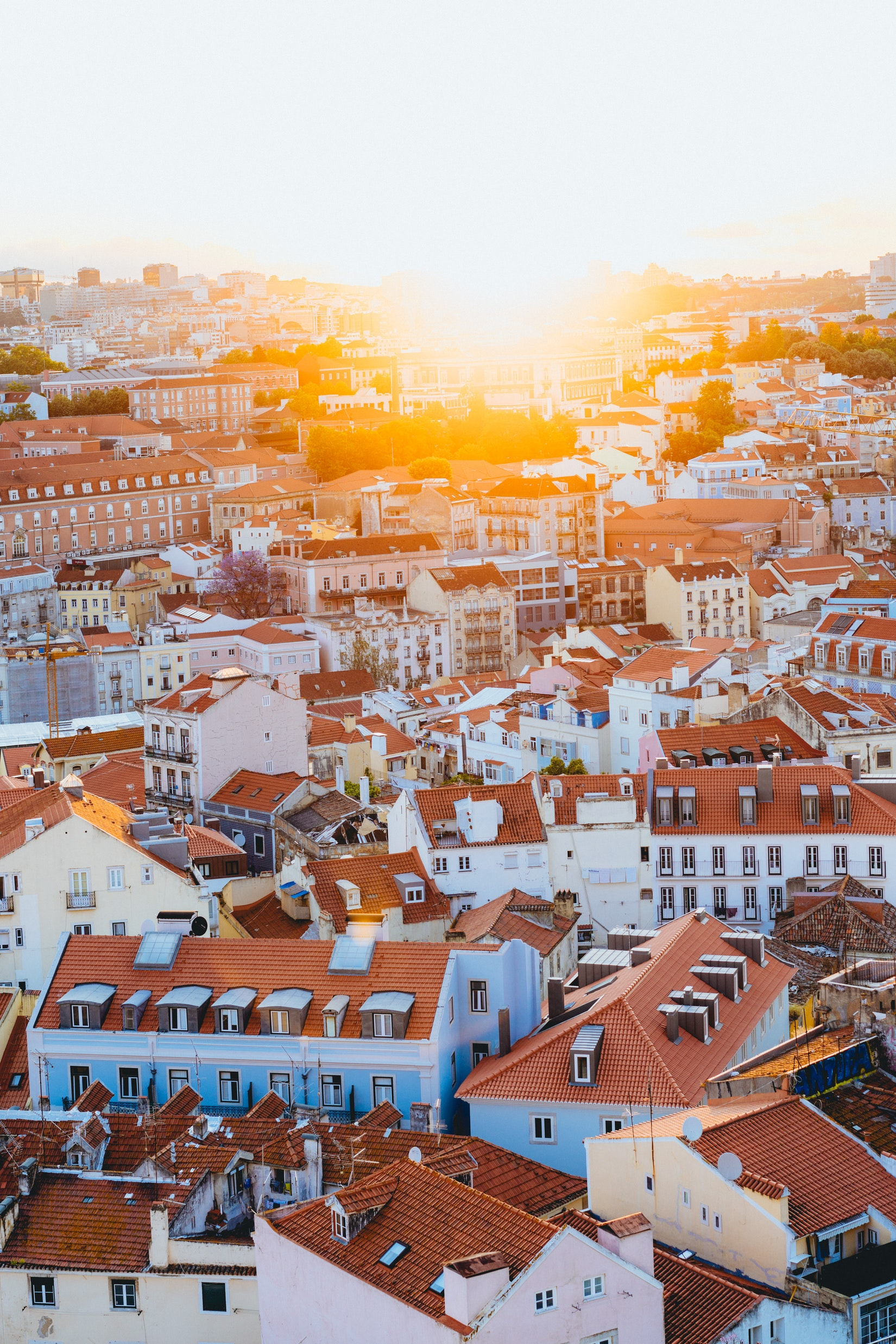 Landscape view of Lisbon, Portugal and all its red roofs