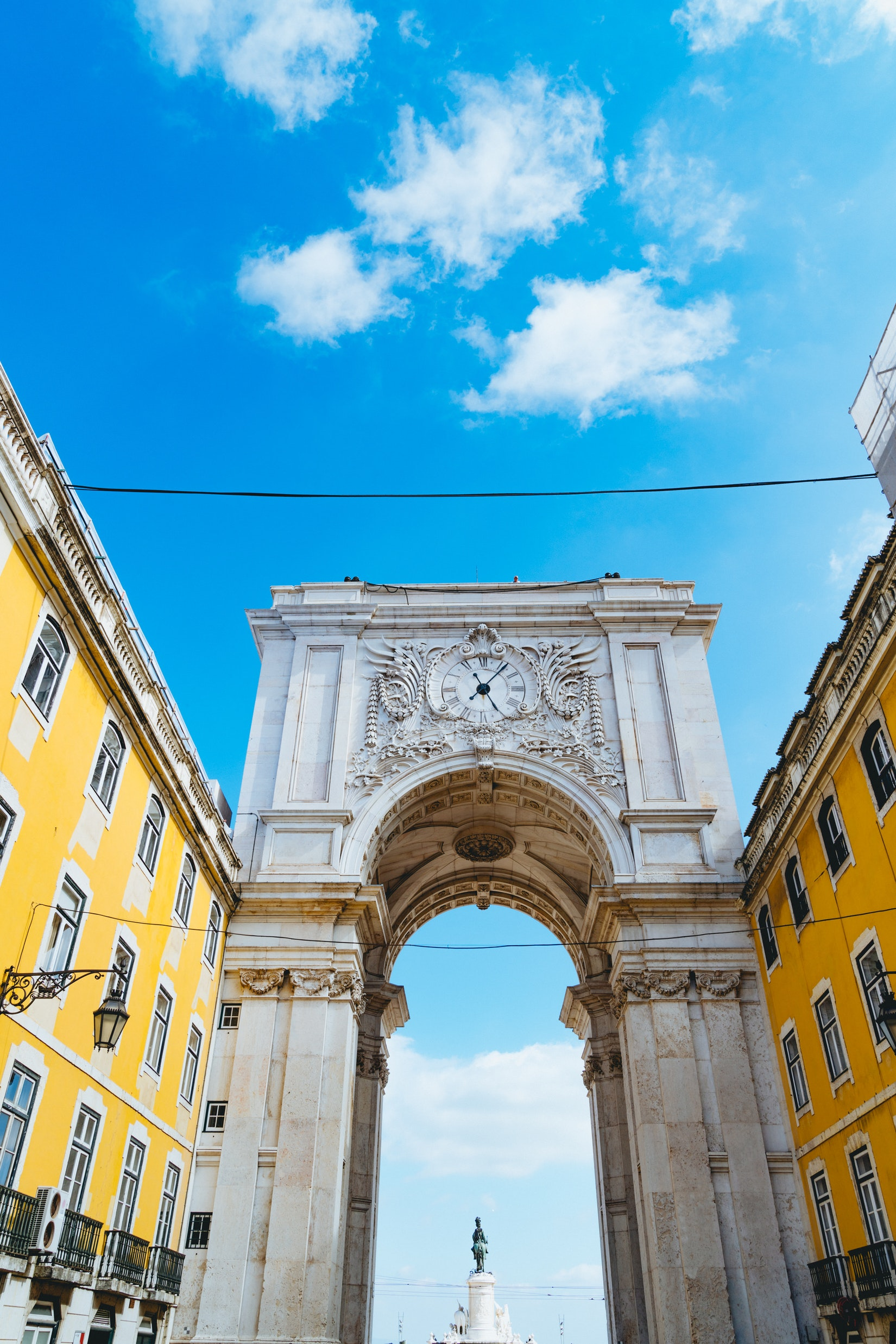 Famous arch in downtown Lisbon, Portugal