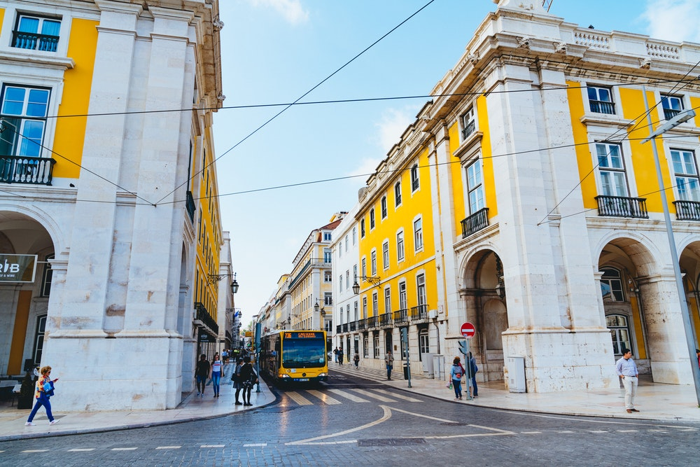 Scene from lively streets of Baixa in Lisbon, Portugal