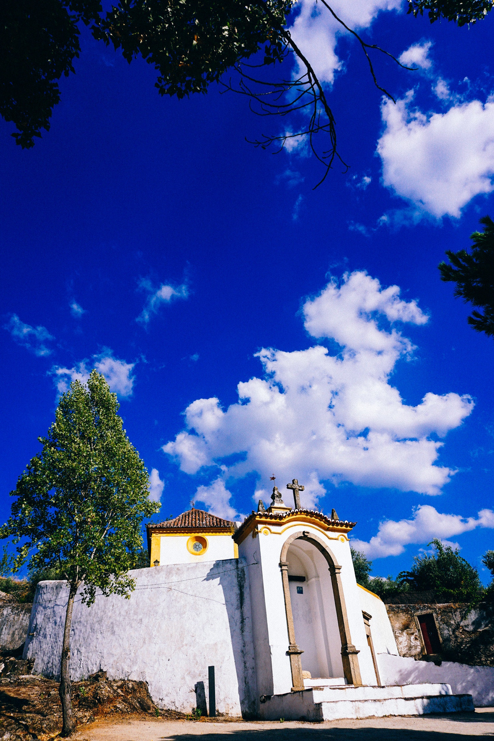 Small white church in Castelo de Vide, Portugal