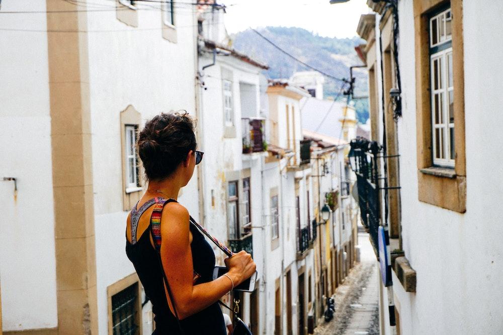 Becca with an old street in Castelo de Vide
