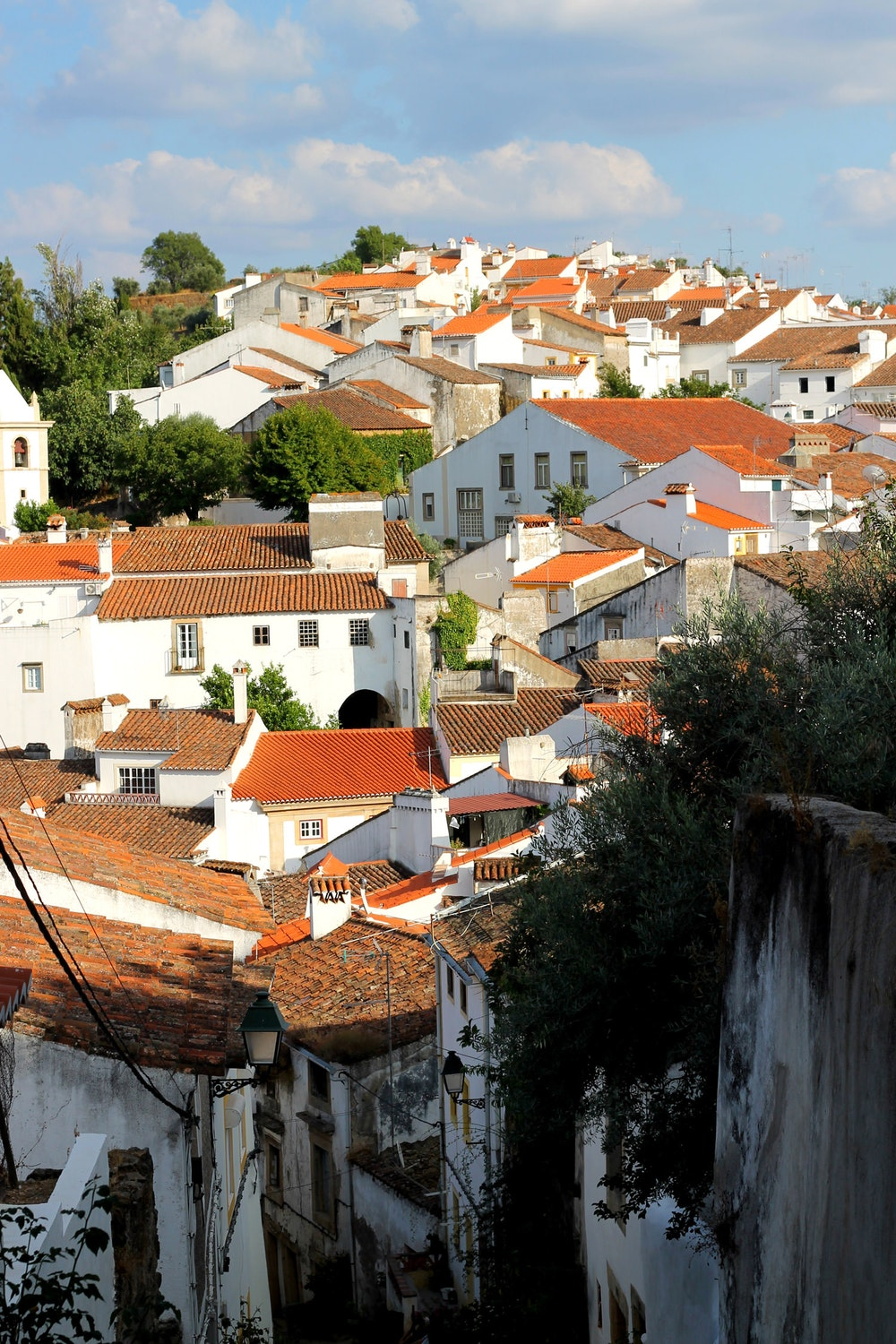 View of white homes with red rooves in the hills of Castelo de Vide