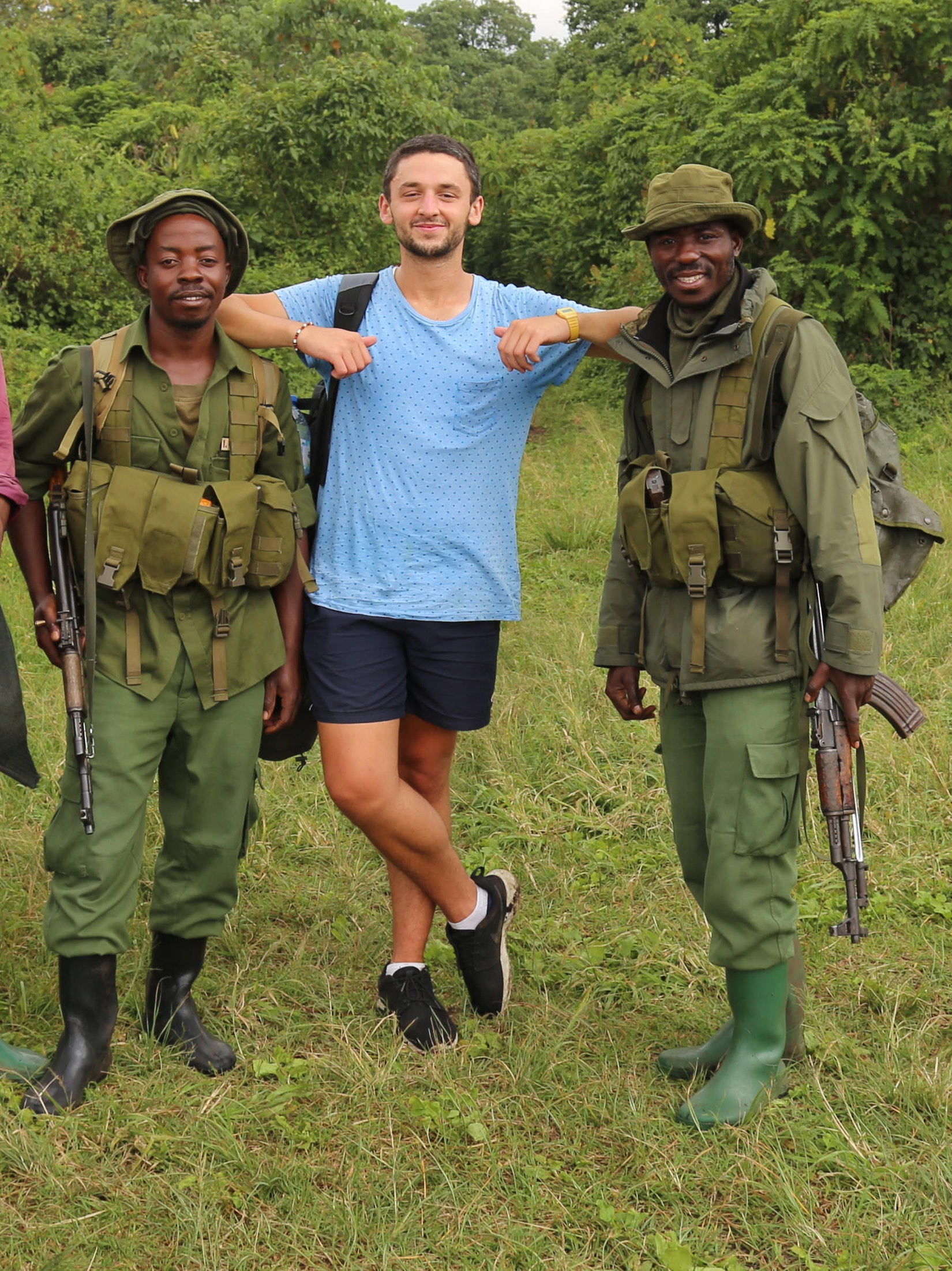 Daniel with some potential new friends in the Democratic Republic of the Congo