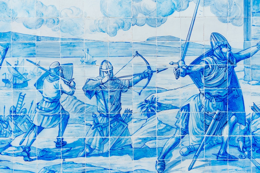 Blue tiles on a wall at the Miraduoro de Santa Luiza in Alfama, Lisbon, Portugal