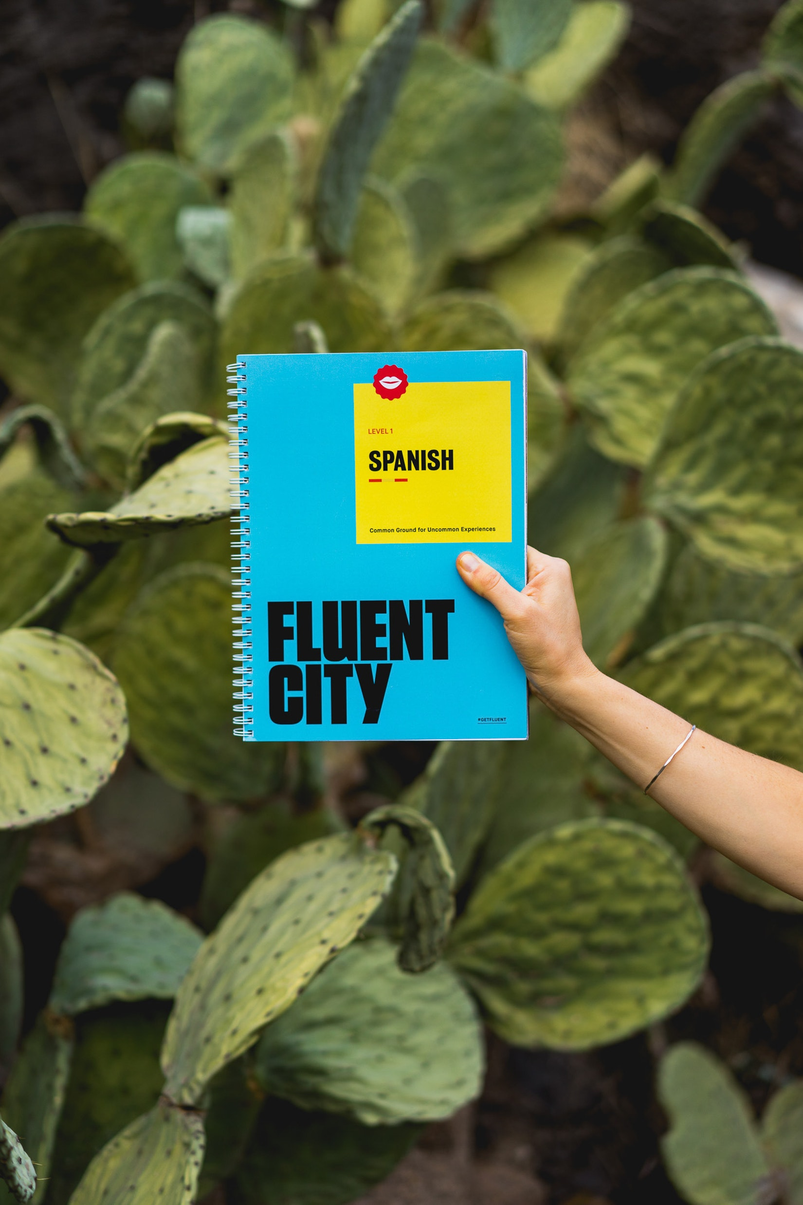Fluent City book in front of cactus