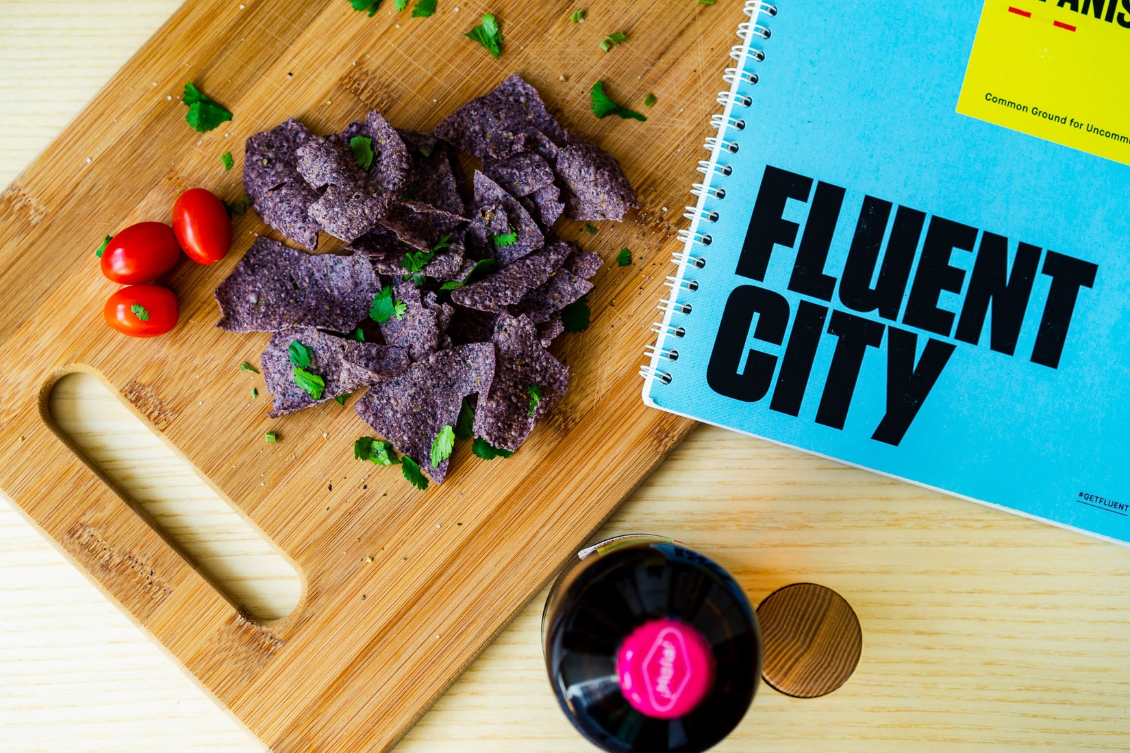 Fluent City book with chips and salsa