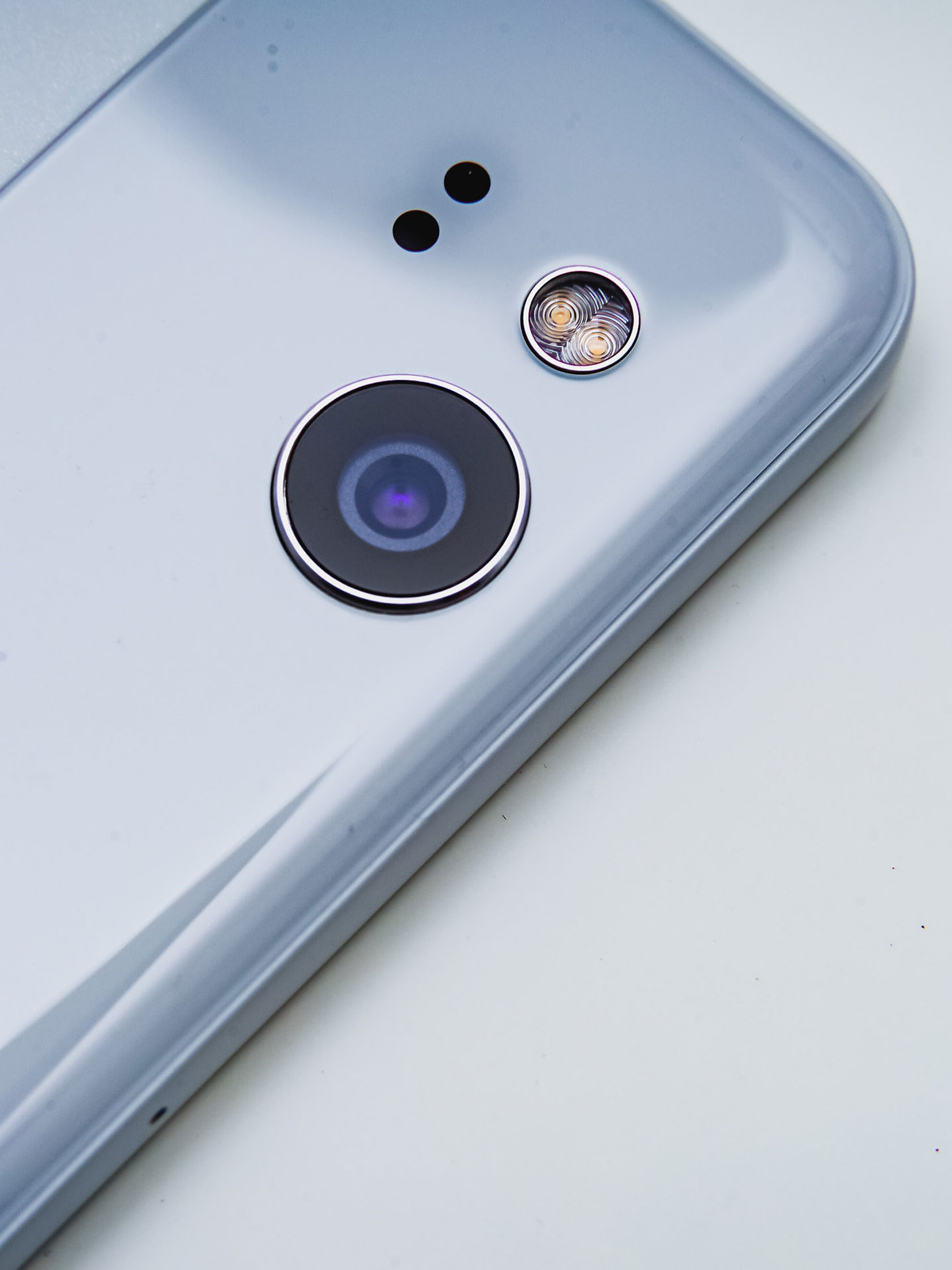 Macro close up of a cell phone camera lens