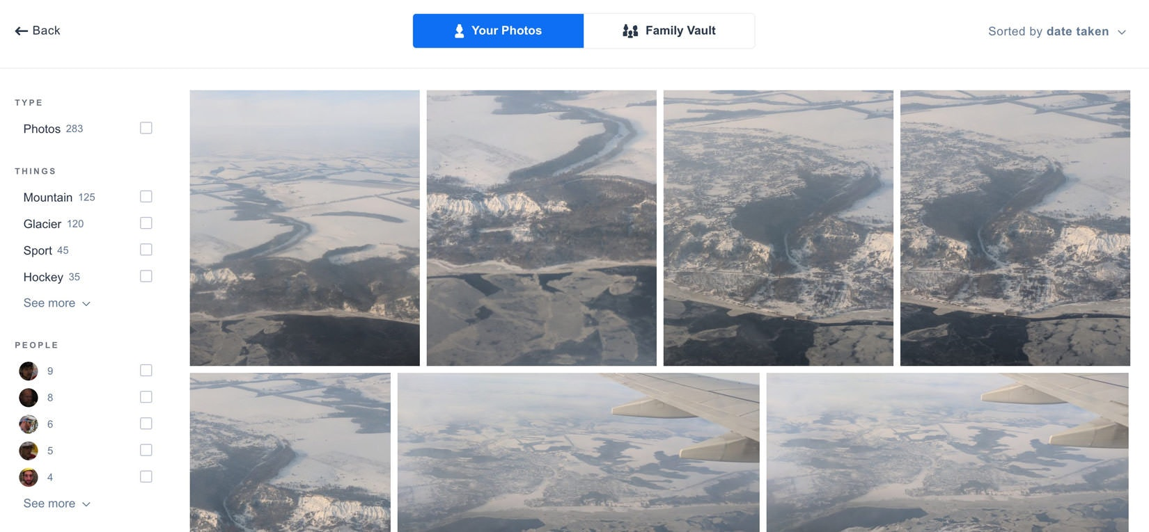 Amazon Prime Photos snow photo search