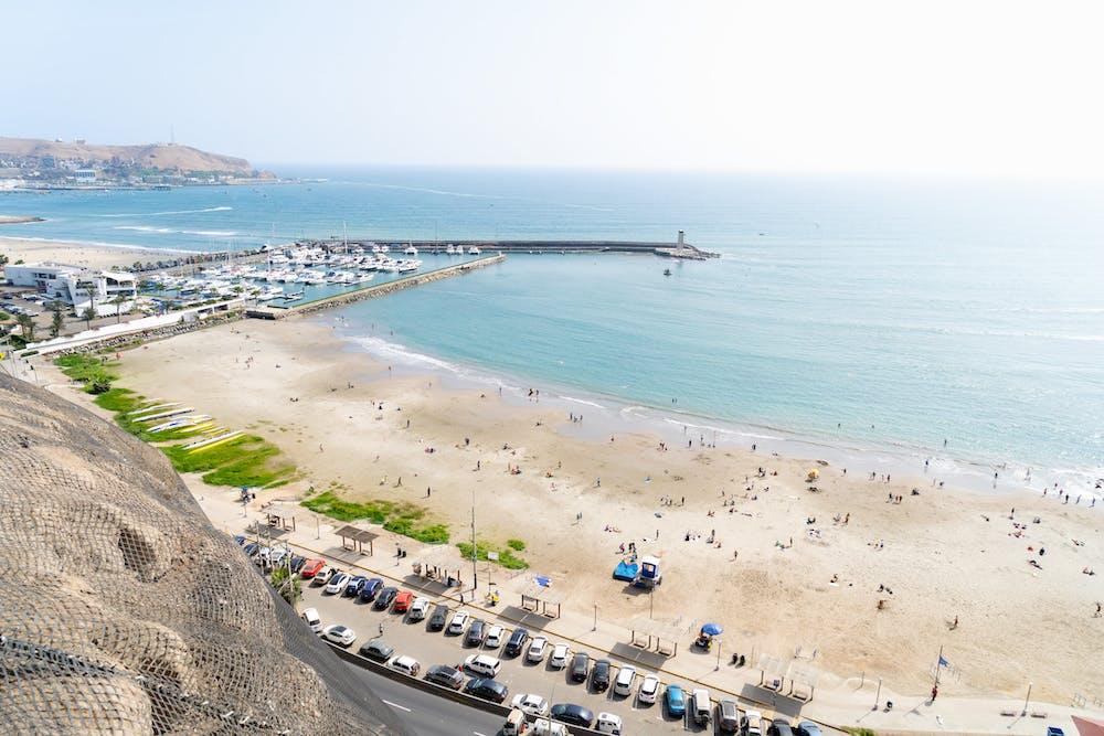 Beach from high above in Lima, Peru