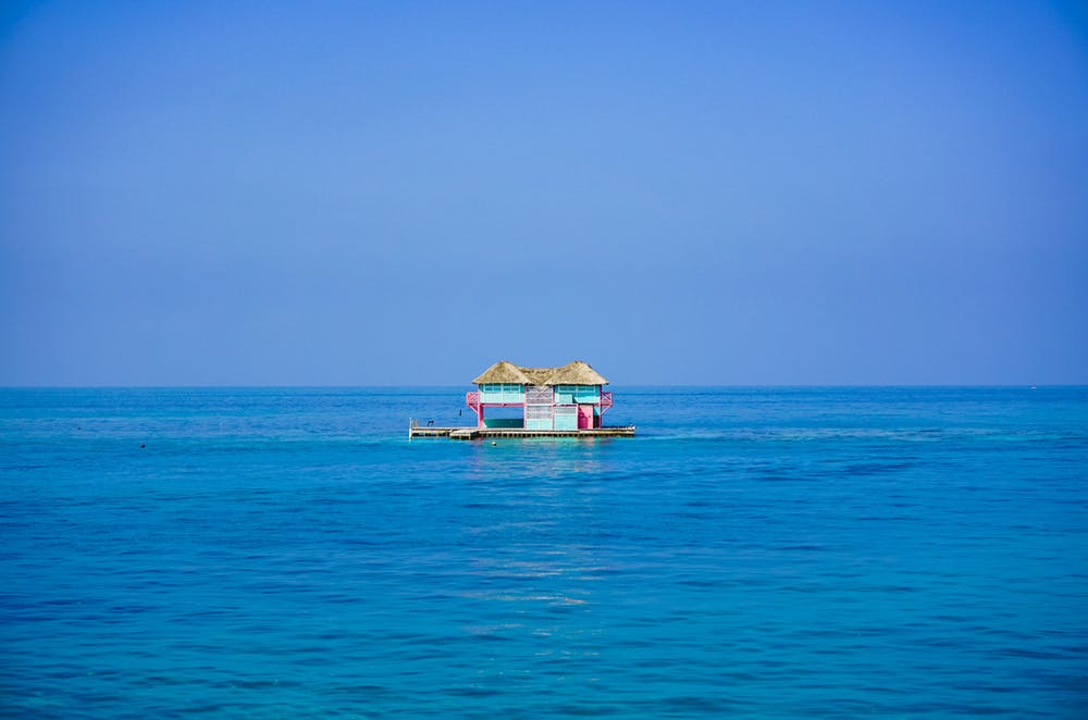 Bright blue sky and blue water off the north coast of Cartagena, Colombia