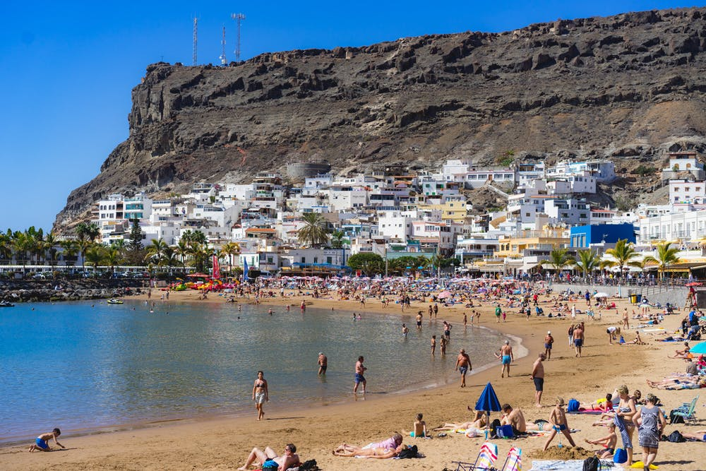Crowded beach on the south side Gran Canaria