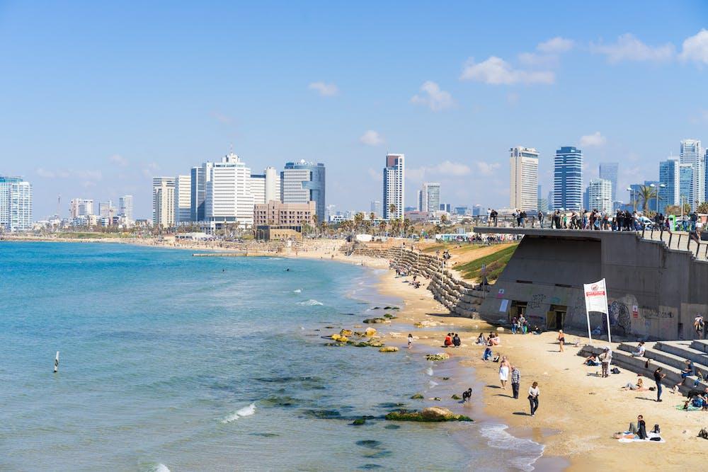 A view of Tel Aviv's beach and city skyline