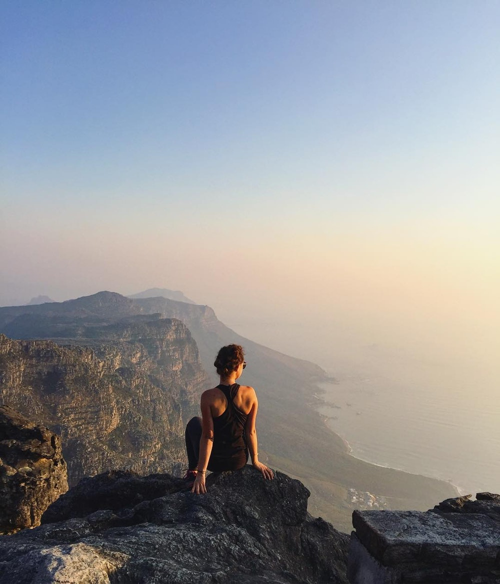Watching the sunset from the summit of Table Mountain in Cape Town, South Africa