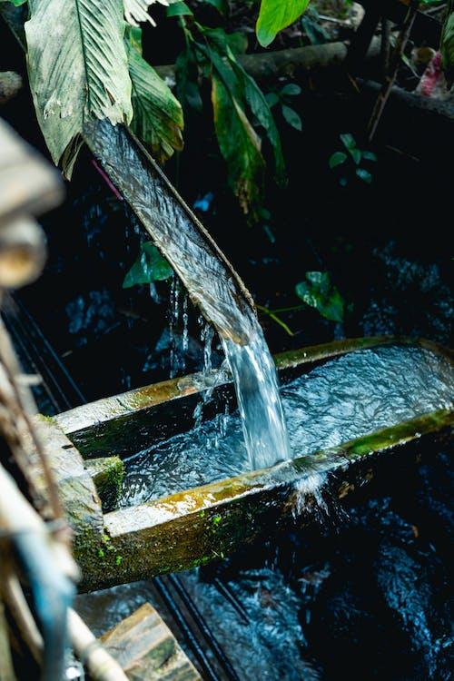 Bir musluktan taş bir su yoluna akan su