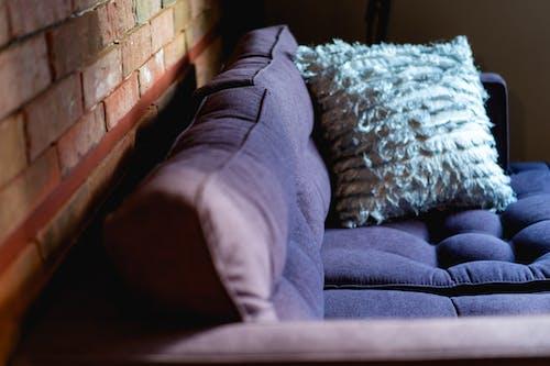 Bulanık gümüş yastıklı bir otel odasında mor kanepe