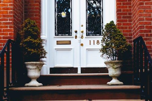 Bir tuğla kumtaşı sıra evinin kapı eşiğinde beyaz saksılarda küçük bitkiler