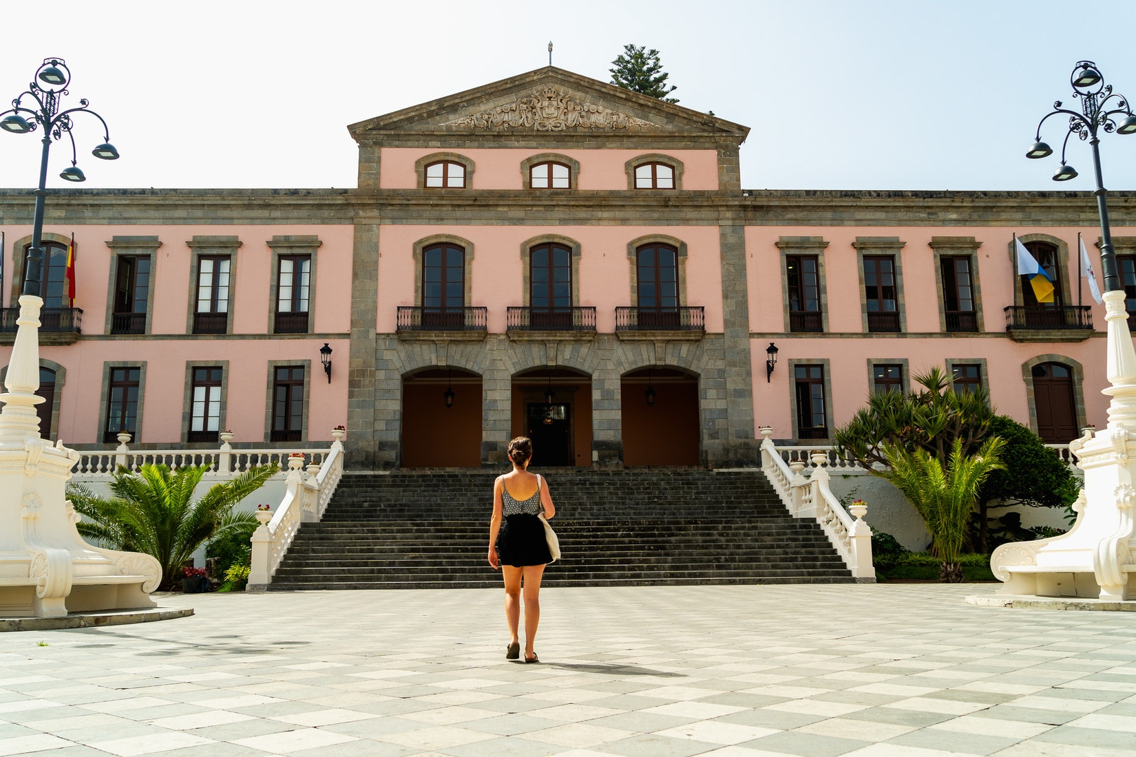 Girl walking up to a building in La Orotava, Tenerife
