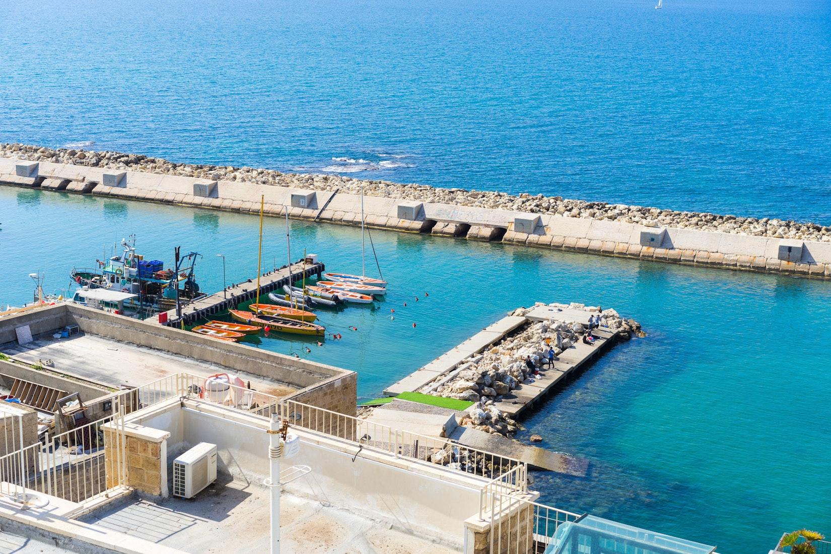 Boat docks in Tel Aviv