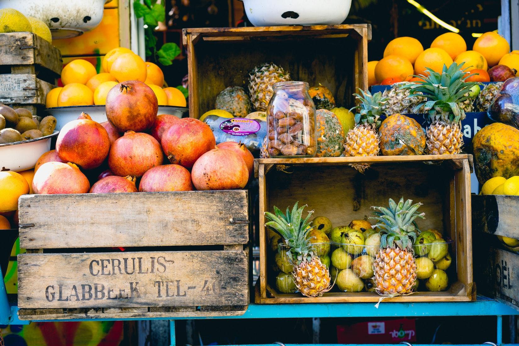 Fruit for sale at a market in Tel Aviv